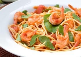 Spaghetti com camarão